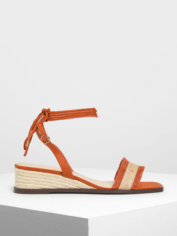 Raffia Lace-Up Espadrille Wedges, Orange, hi-res