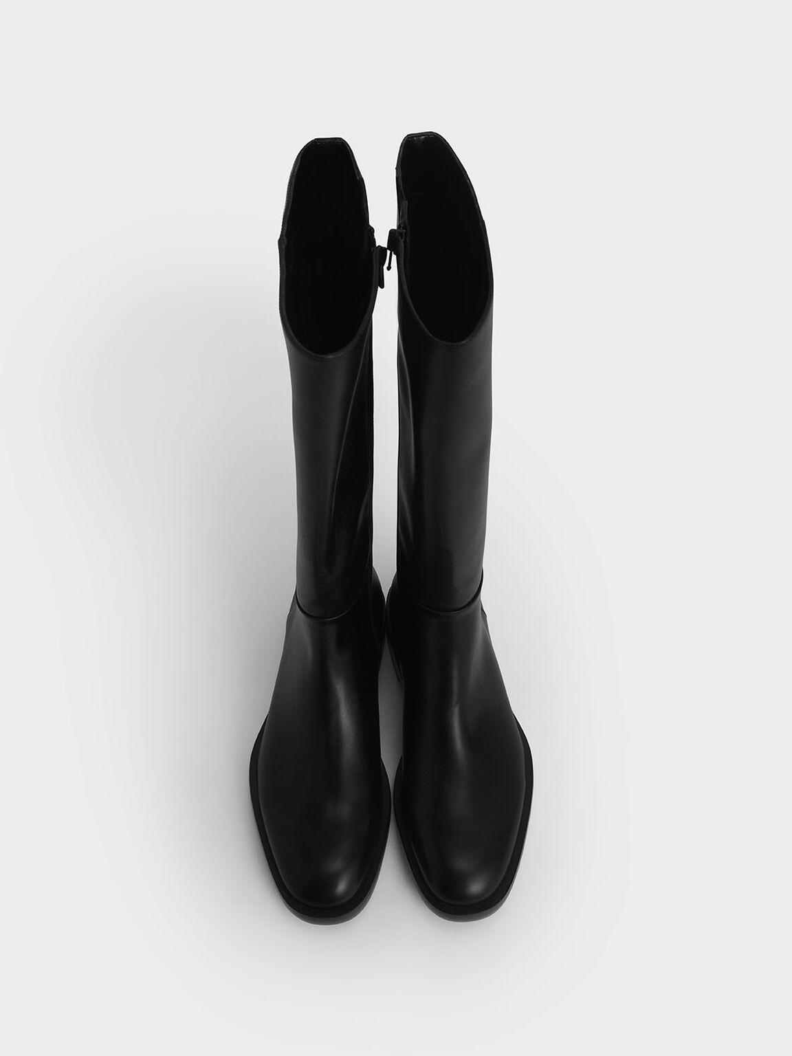 Side Zip Knee High Boots, Black, hi-res