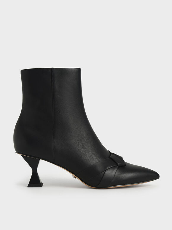 Leather & Kid Suede Knotted Ankle Boots, Black, hi-res