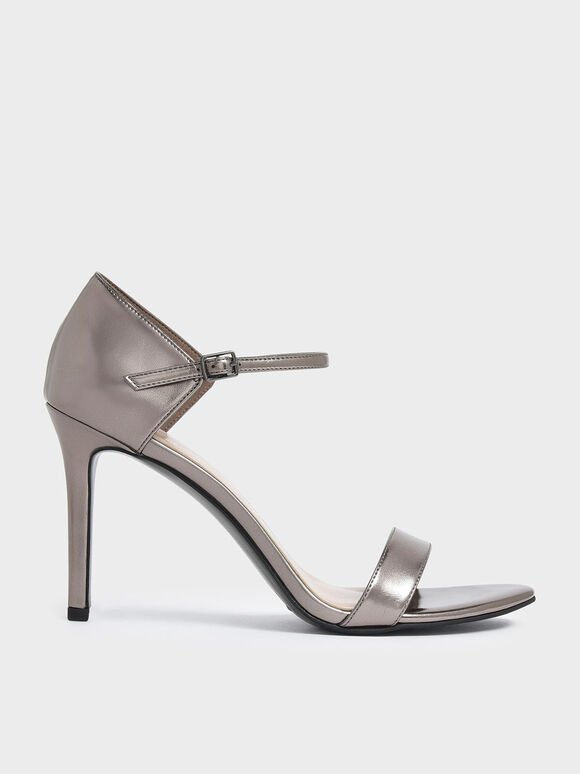 Metallic Ankle Strap Stiletto Heels, Pewter, hi-res