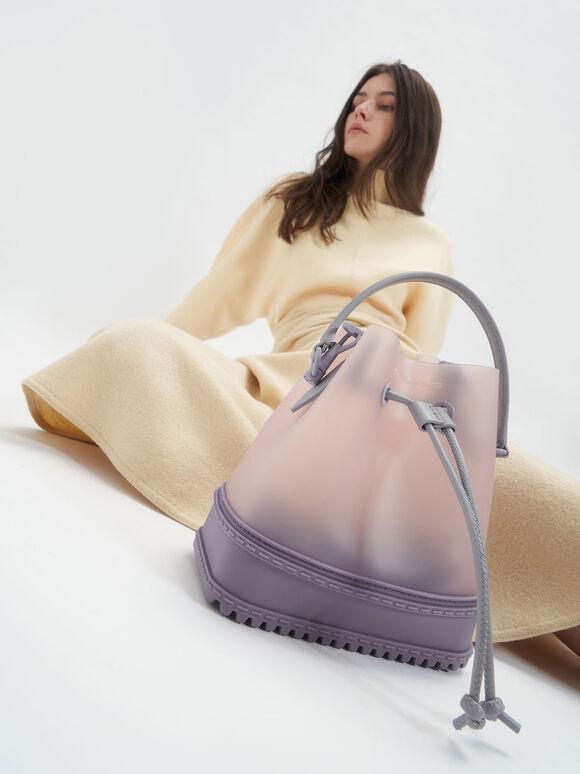 See-Through Effect Drawstring Bucket Bag, Lilac, hi-res