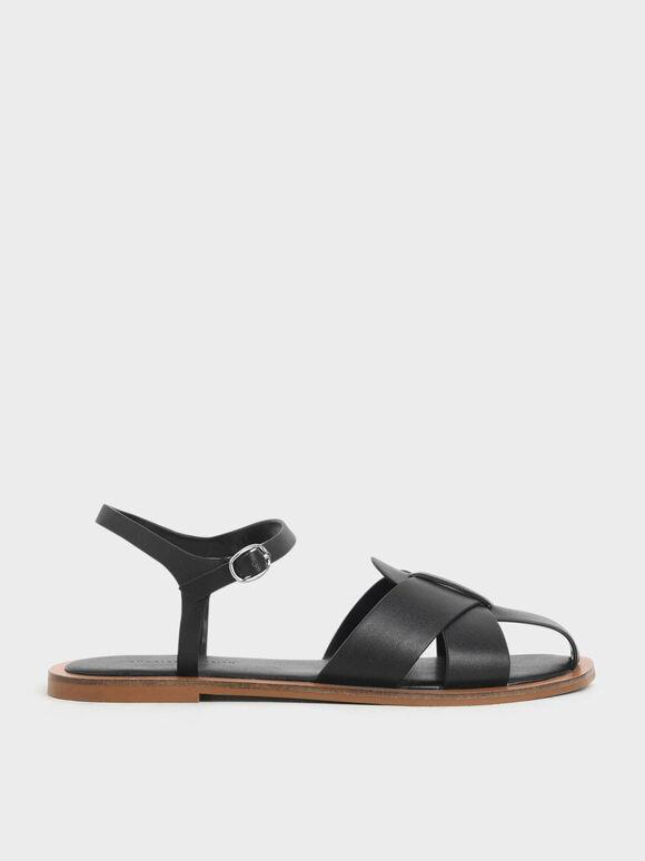 Peep Toe Flat Sandals, Black, hi-res