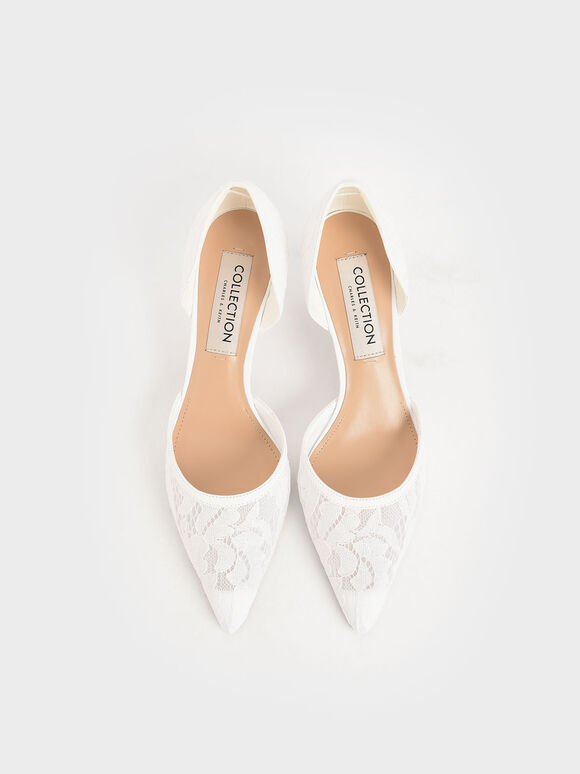 Wedding Collection: Lace & Mesh D'Orsay Pumps, White, hi-res