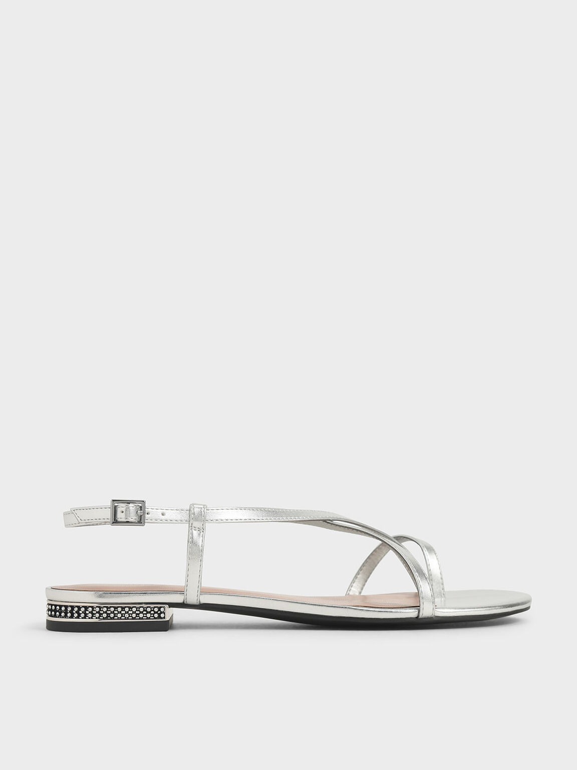 Metallic Toe Loop Strappy Sandals, Silver, hi-res