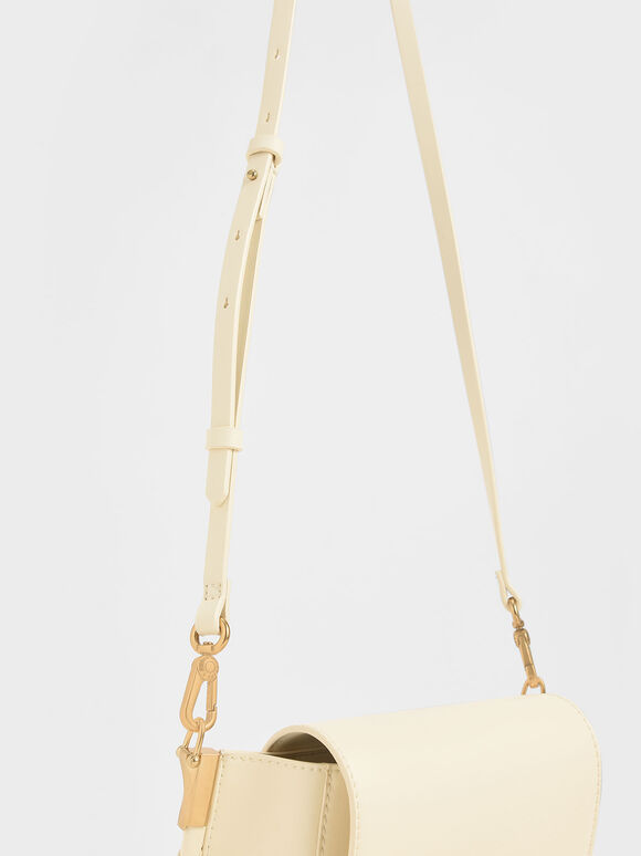 Stitch Trim Saddle Bag, Chalk, hi-res