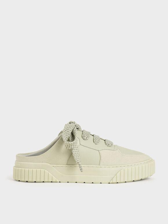 Microsuede Slip-On Sneakers, Mint Green, hi-res
