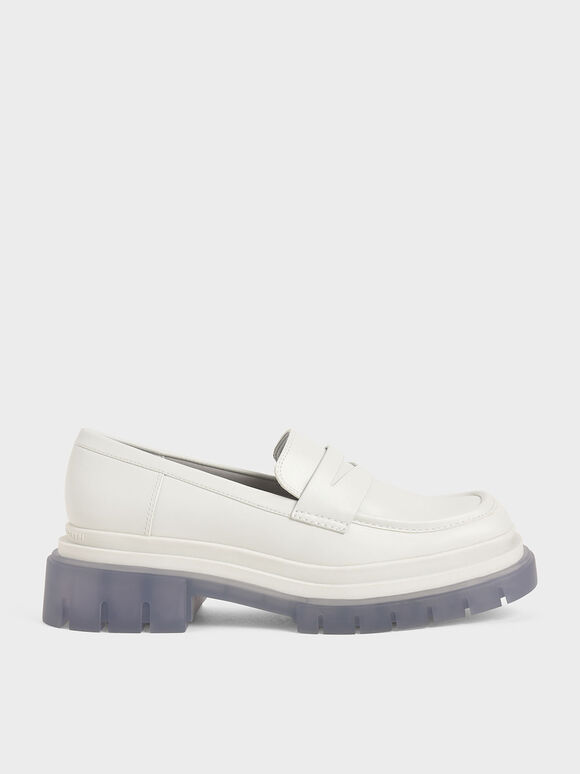 Chunky Sole Penny Loafers, White, hi-res