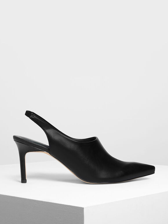 Slingback Pointed Heels, Black, hi-res