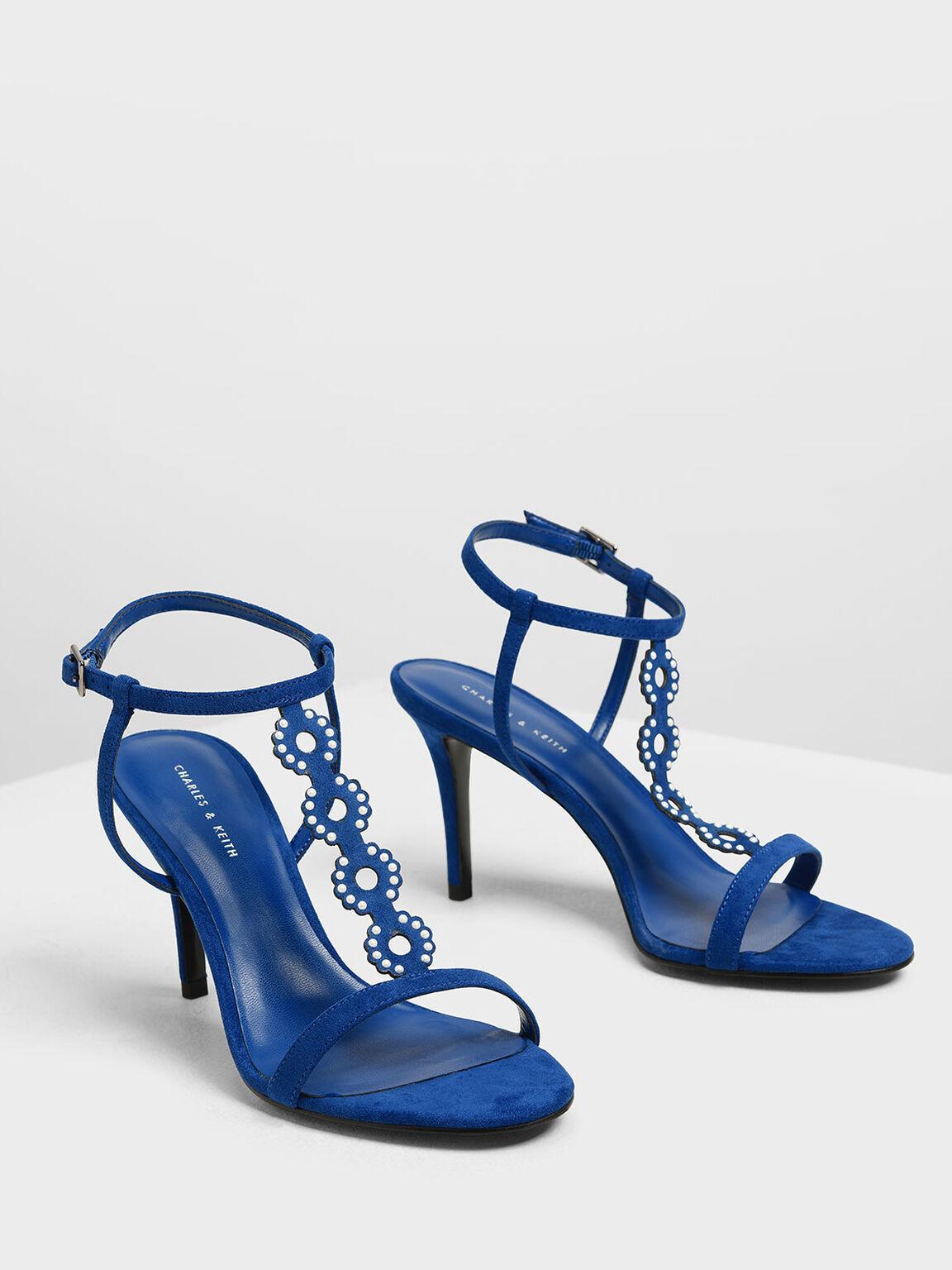 Cut-Out Embellished Stiletto Heels, Blue, hi-res