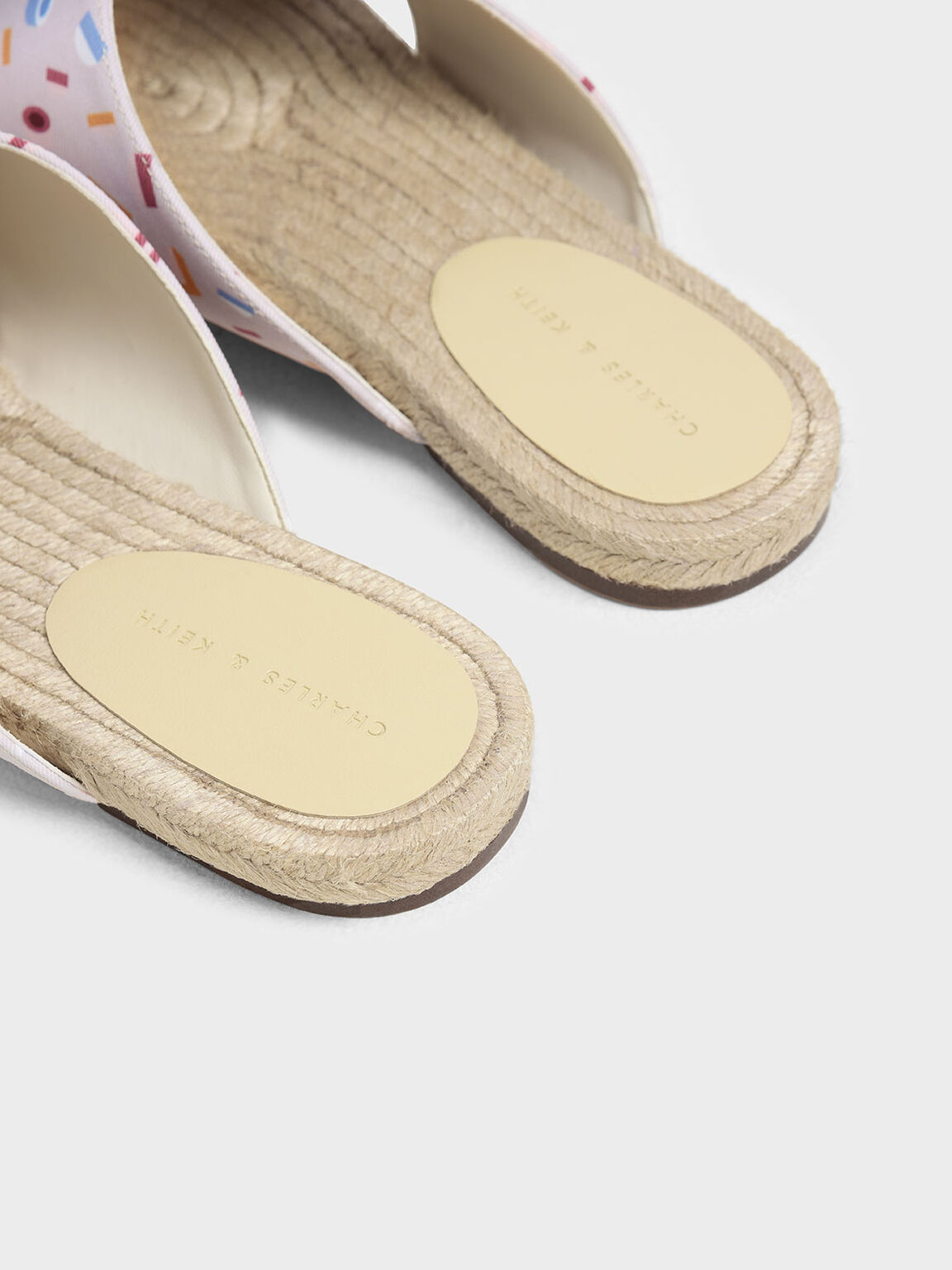 Criss Cross Printed Fabric Slide Sandals, Light Pink, hi-res