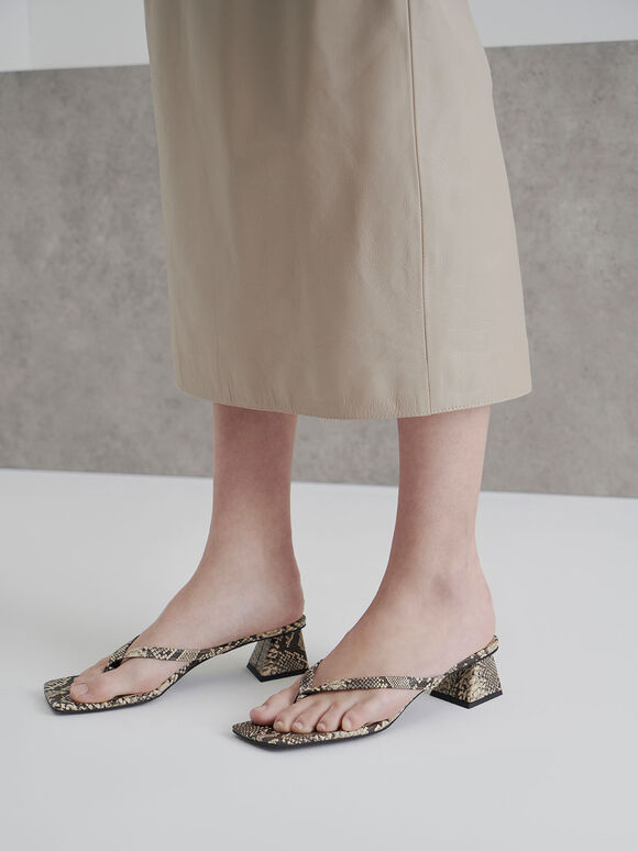 Snake Print Thong Heeled Sandals, Multi, hi-res