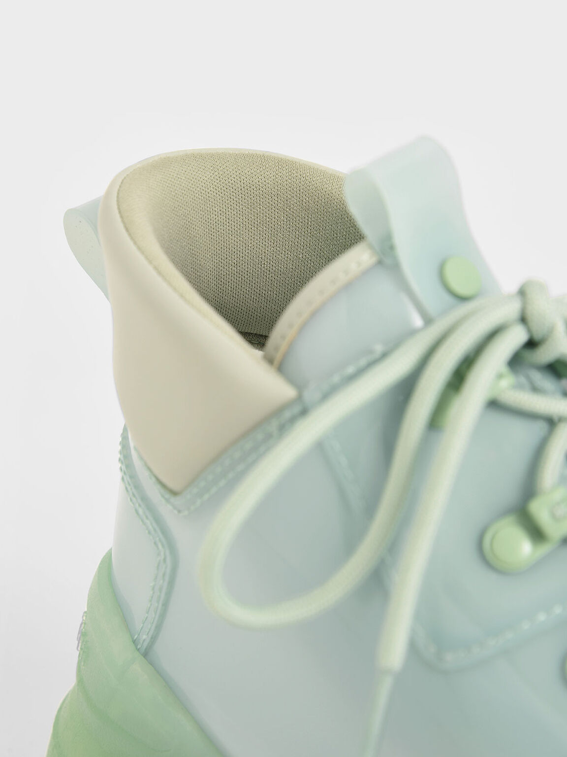 Chunky High Top Trainers, Green, hi-res