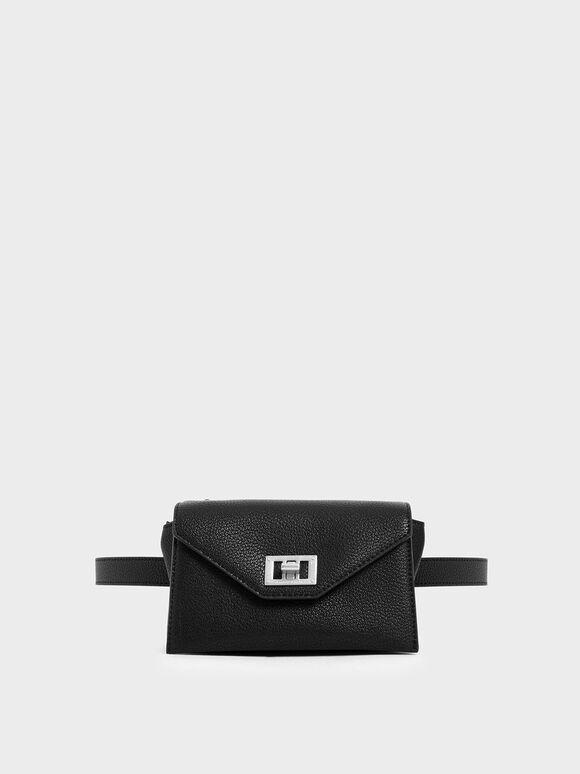 Turn Lock Belt Bag, Black, hi-res