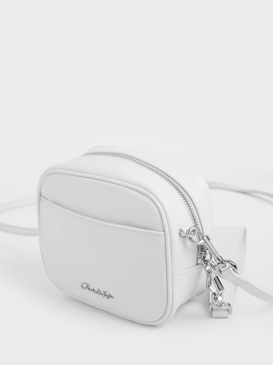 Leather Mini Crossbody Bag, White, hi-res