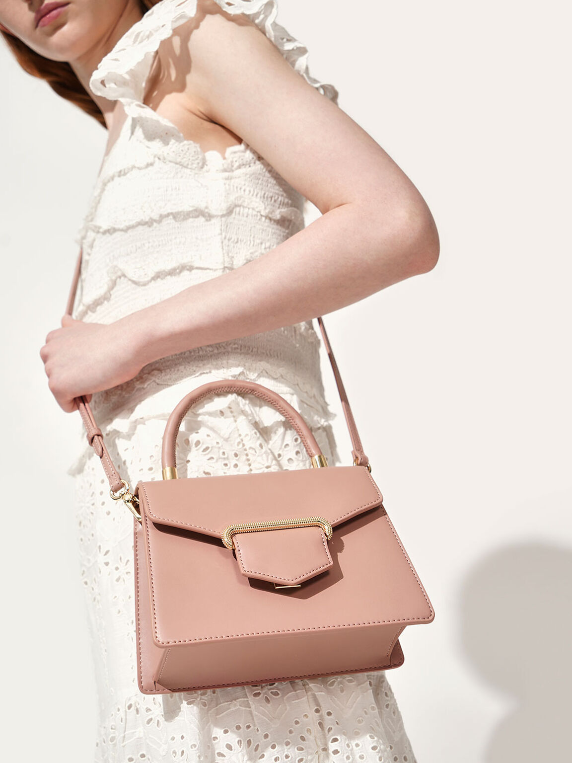 Leather Metallic Accent Handbag, Blush, hi-res