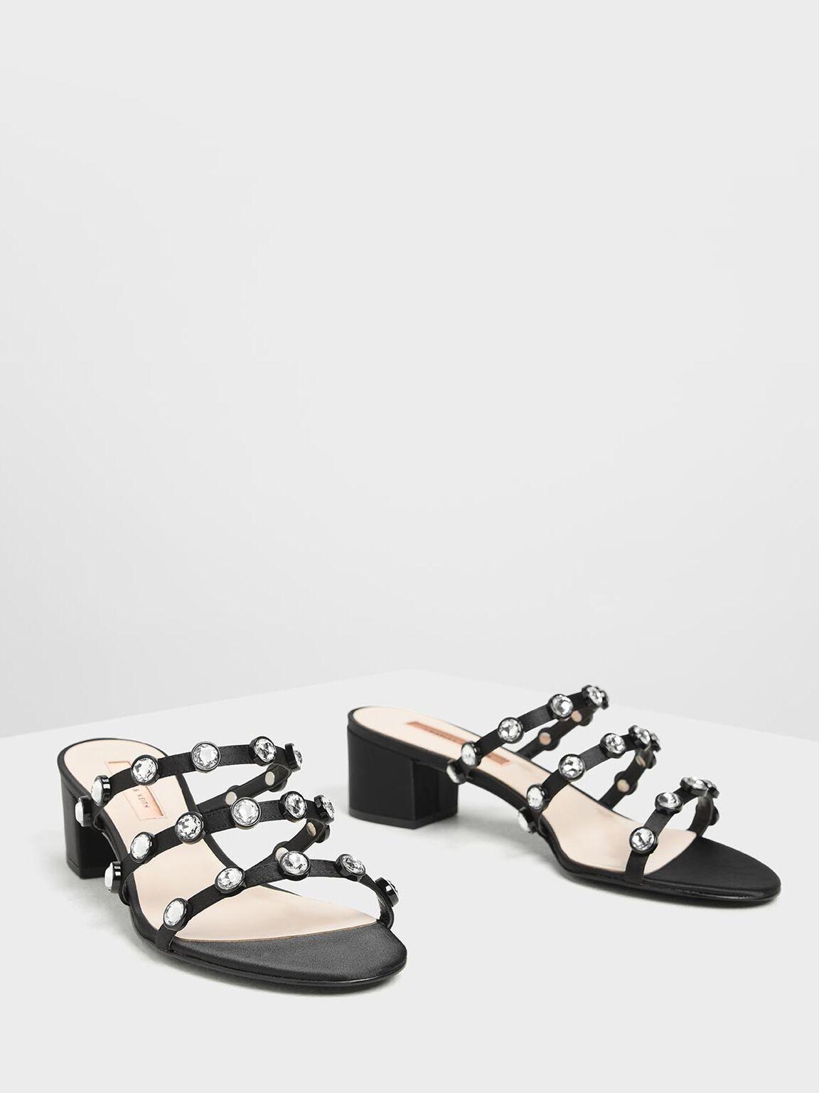 Embellished Strappy Slide Sandals, Black, hi-res