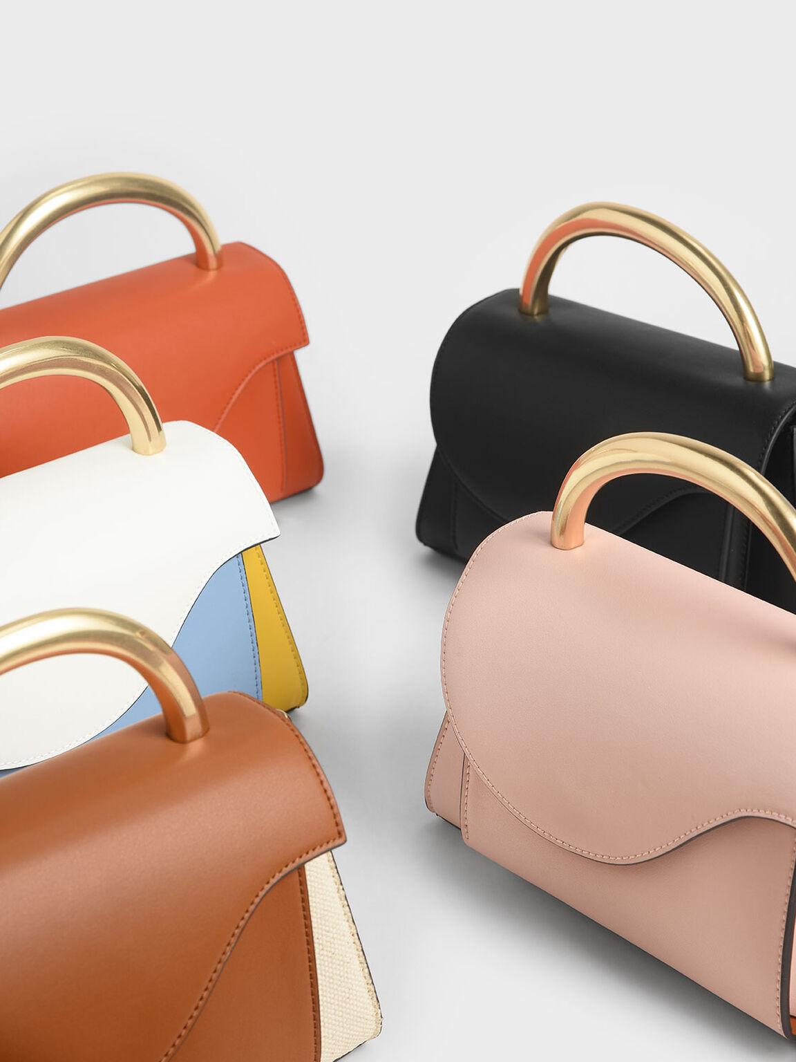 Angular Flap Metallic Top Handle Bag, Multi, hi-res