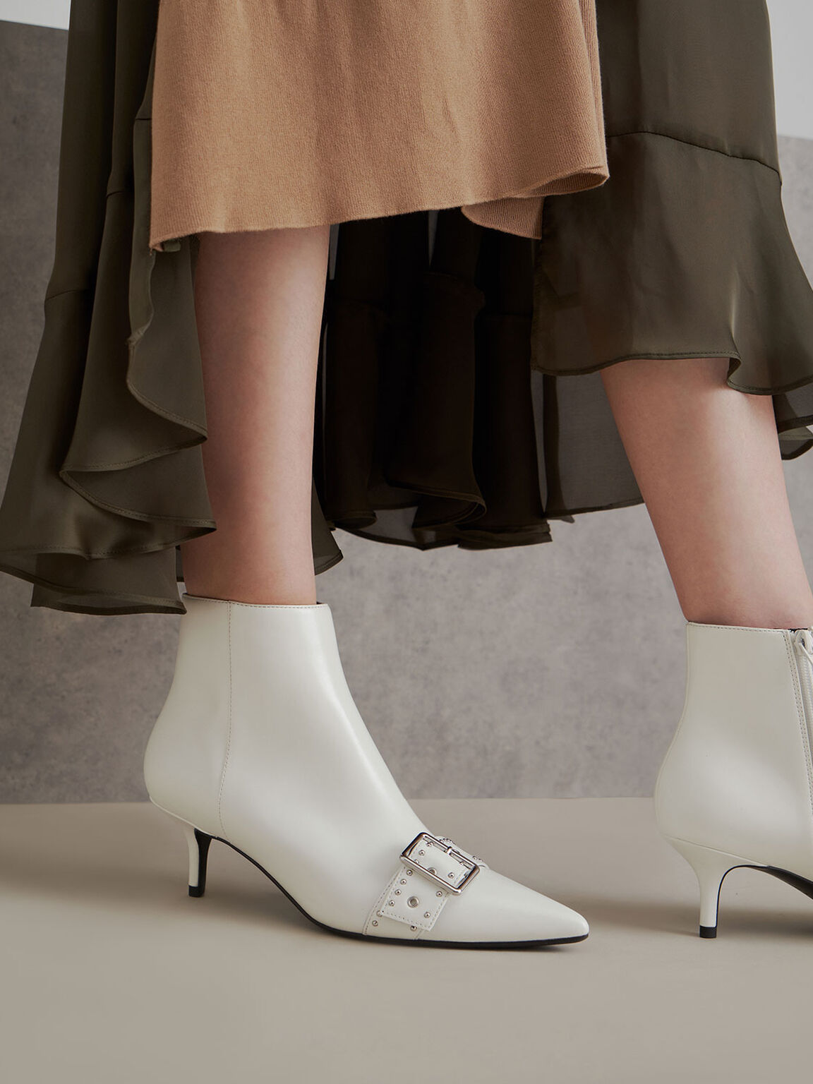 Studded Ankle Boots, White, hi-res