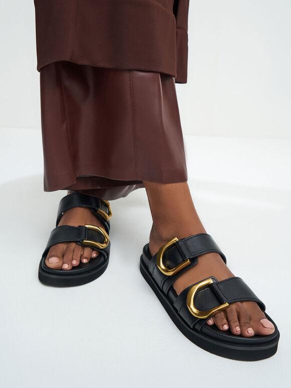 Gabine Buckled Leather Slides, Black, hi-res