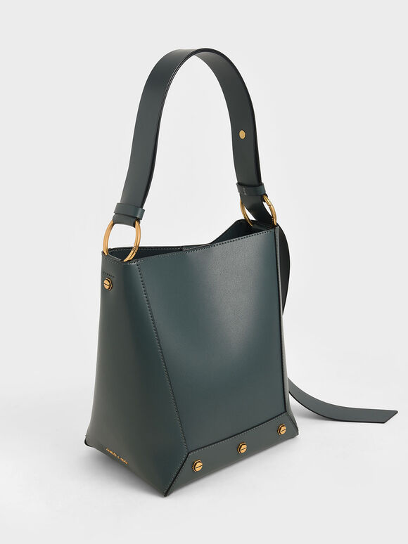 Studded Tote Bag, Teal, hi-res