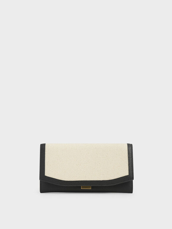 Mini Canvas Long Wallet, Black Textured, hi-res