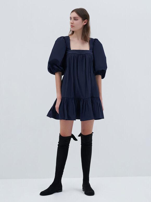 Textured Thigh-High Boots, Black, hi-res