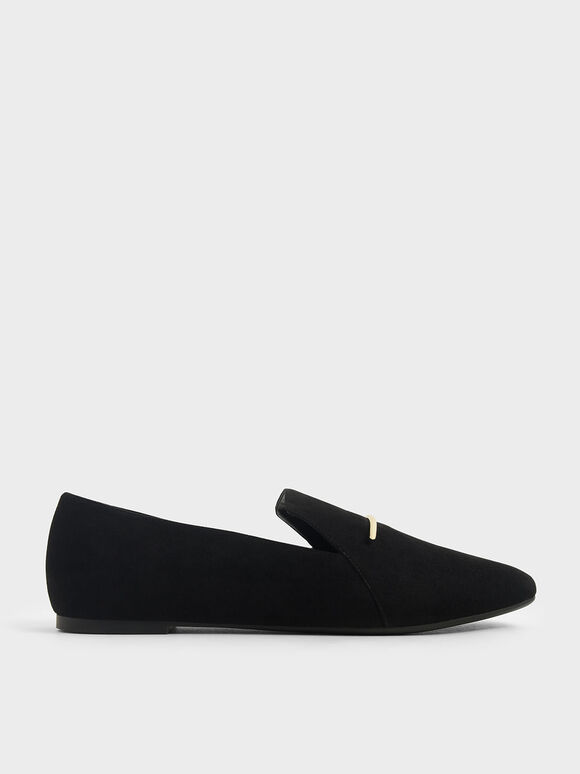 Textured Embellished Loafers, Black, hi-res