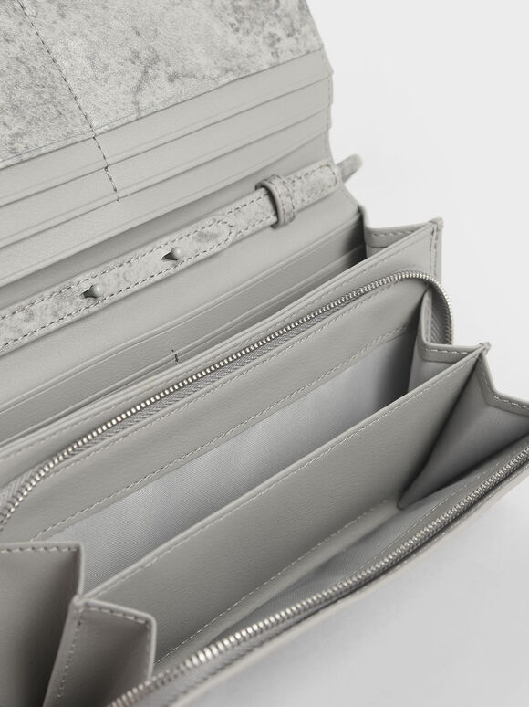 Front Flap Long Wallet, Grey, hi-res