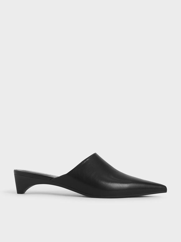 Pointed Toe Mules, Black, hi-res