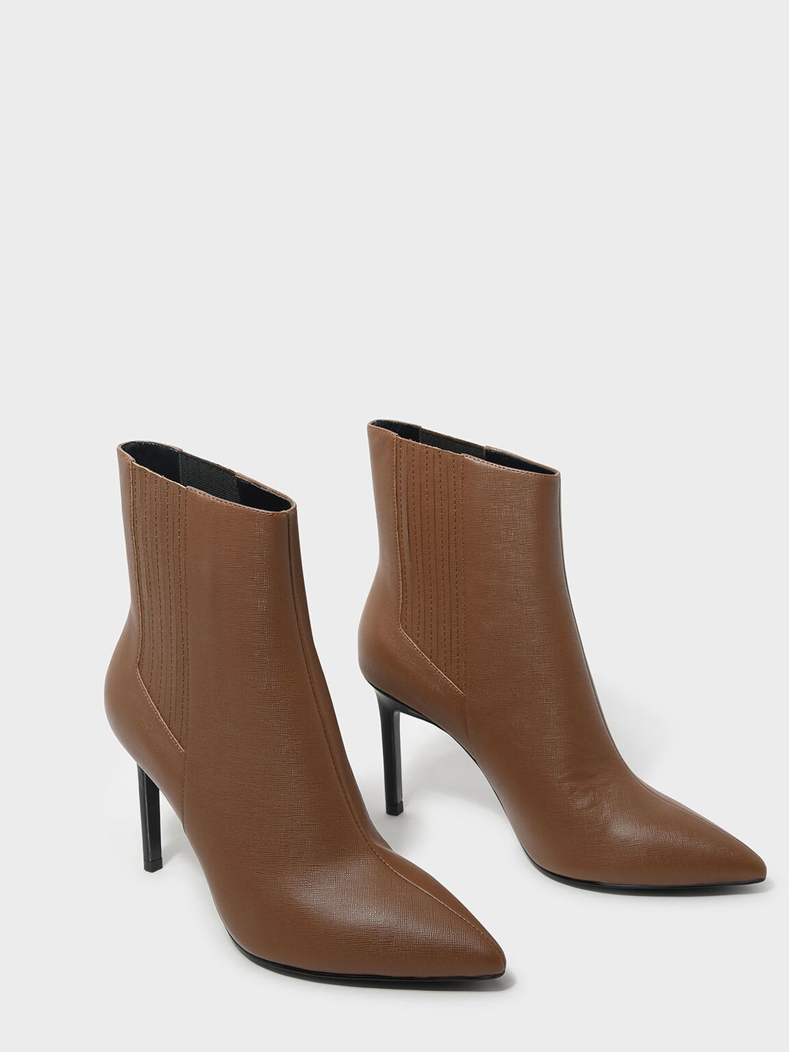 Classic Leather Pointed Boots, Brown, hi-res