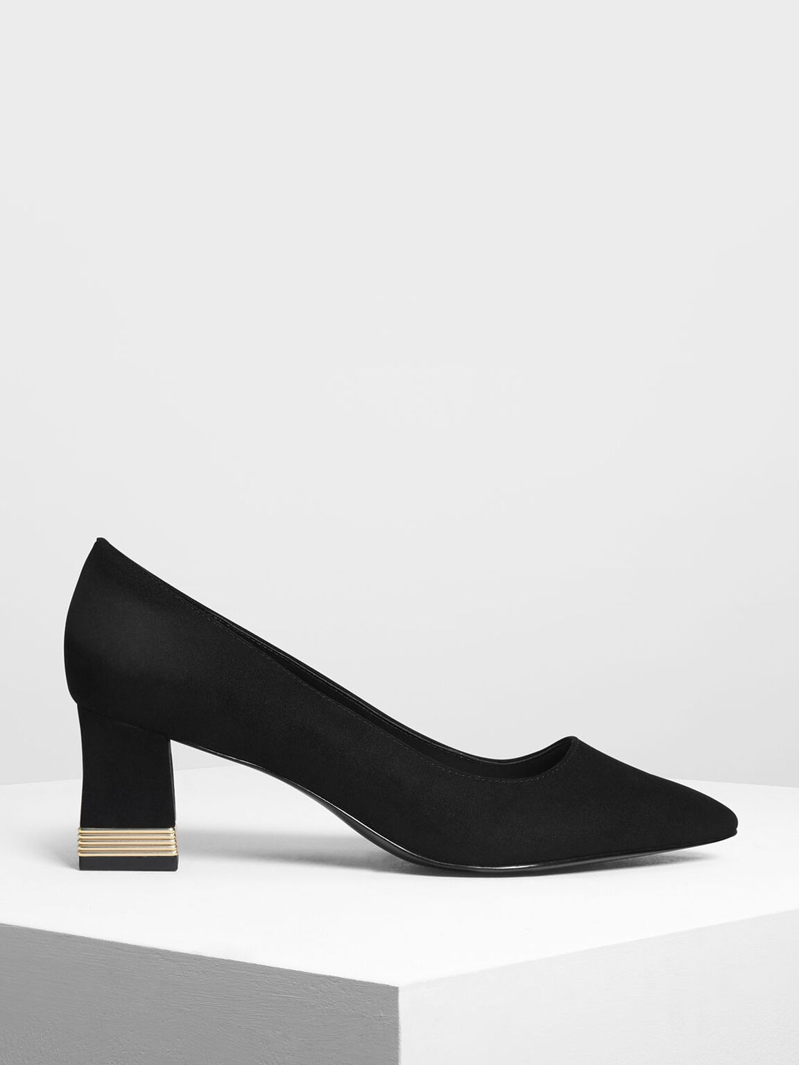 Metallic Accent Heel Pumps, Black, hi-res