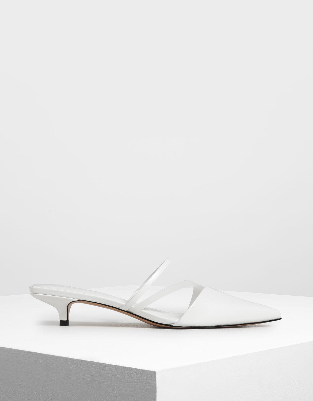 White Asymmetrical Kitten Heel Mules