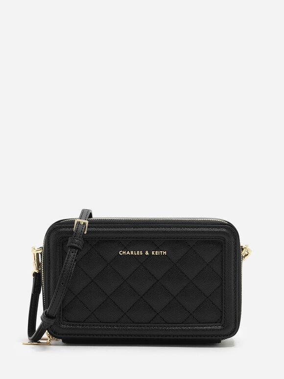 Quilted Long Wallet, Black, hi-res