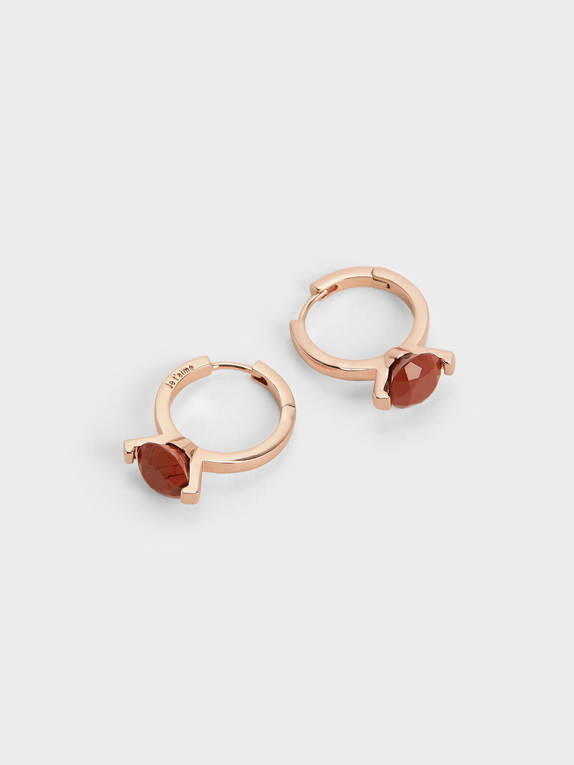 Red Jasper Stone Huggie Hoop Earrings, Rose Gold, hi-res