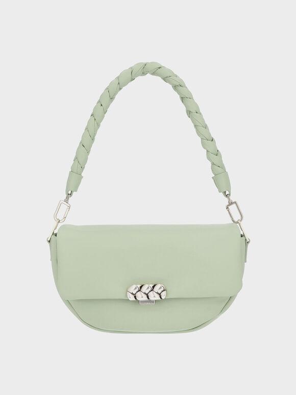Braided Handle Metallic Accent Shoulder Bag, Mint Green, hi-res