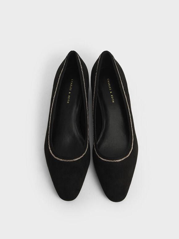 Textured Chain Embellished Ballerina Flats, Black, hi-res