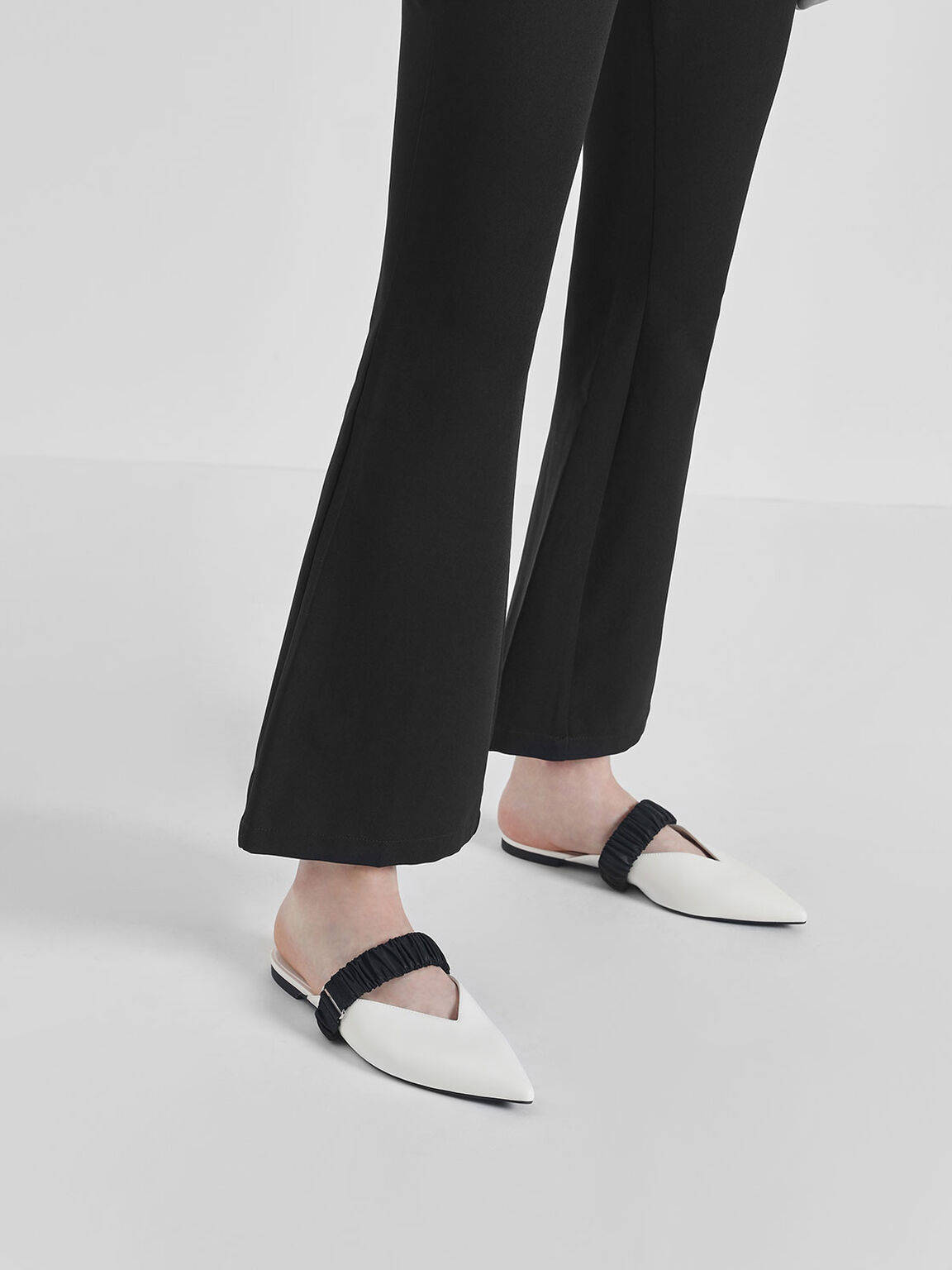 Ruched Band Mules, White, hi-res