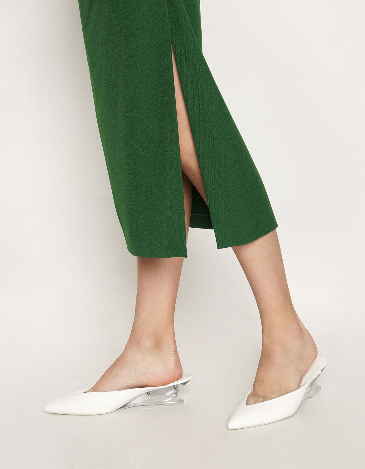 White See-Through Effect Pointed Toe
