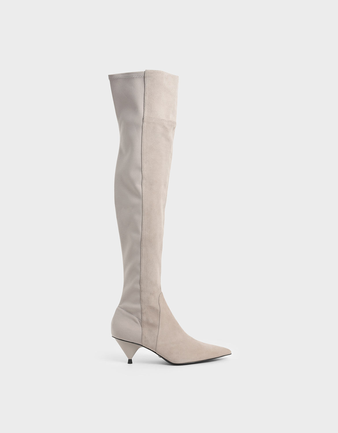 Grey Thigh High Boots (Kid Suede