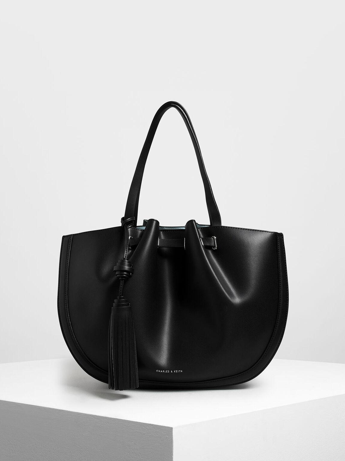 Tassel Tote Bag, Black, hi-res