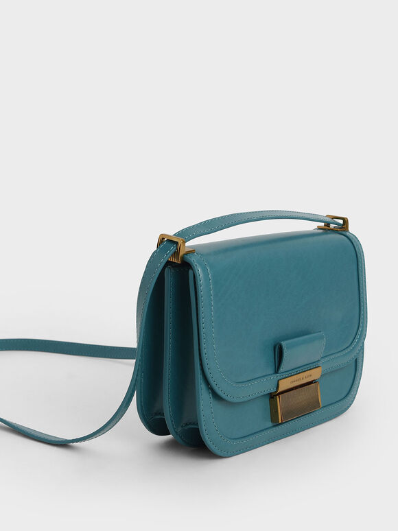 Metallic Push-Lock Crossbody Bag, Turquoise, hi-res