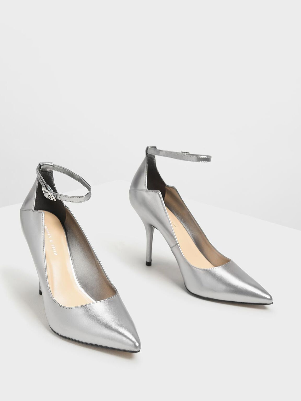 Ankle Strap Pointed Pumps, Silver, hi-res