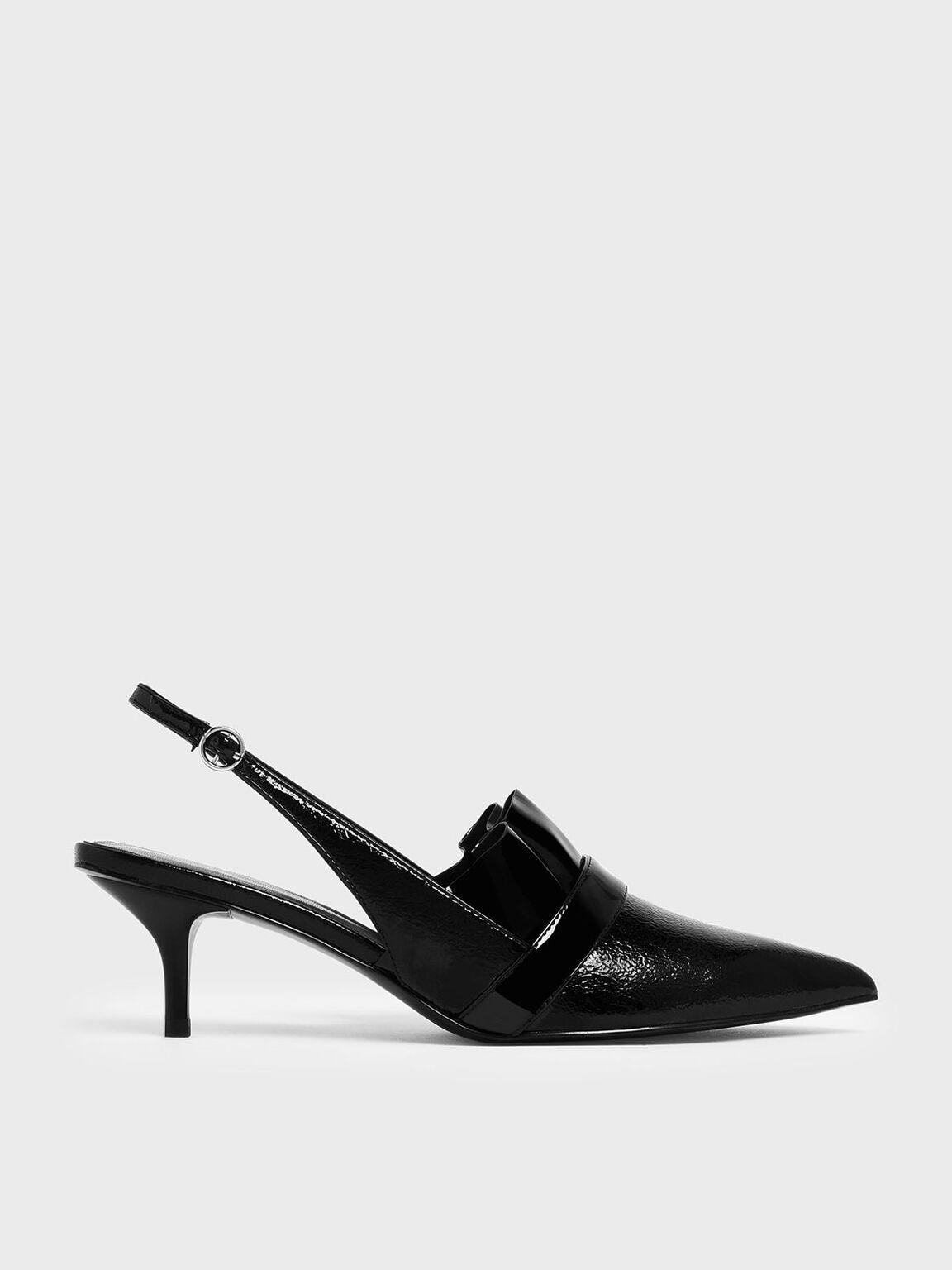 Frill Trim Wrinkled Patent Slingback Heels, Black, hi-res