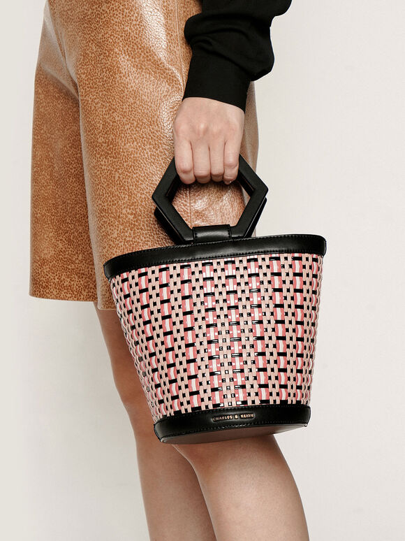Geometric Handle Woven Bucket Bag, Multi, hi-res