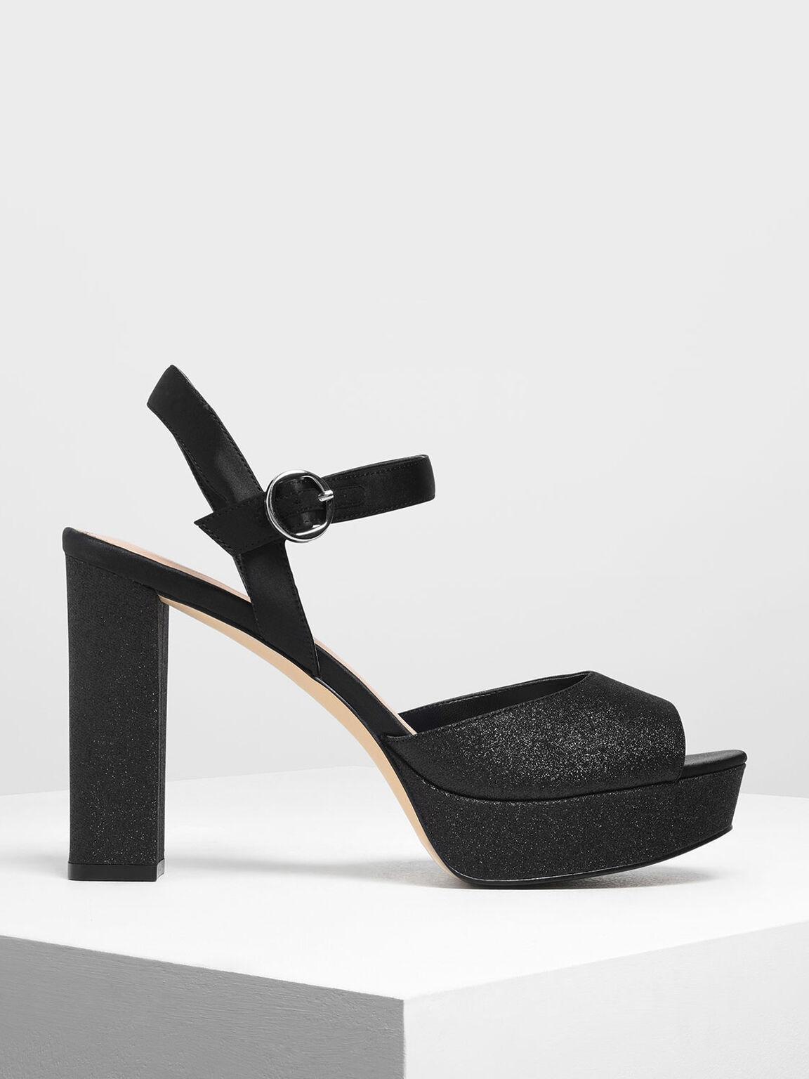 Glitter Platform Heels, Black, hi-res