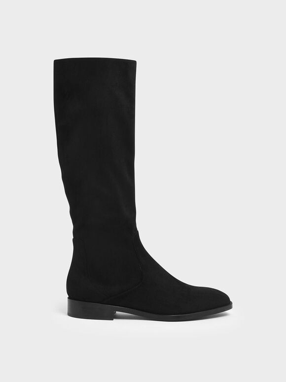 Zip-Up Knee High Flat Boots, Black Textured, hi-res