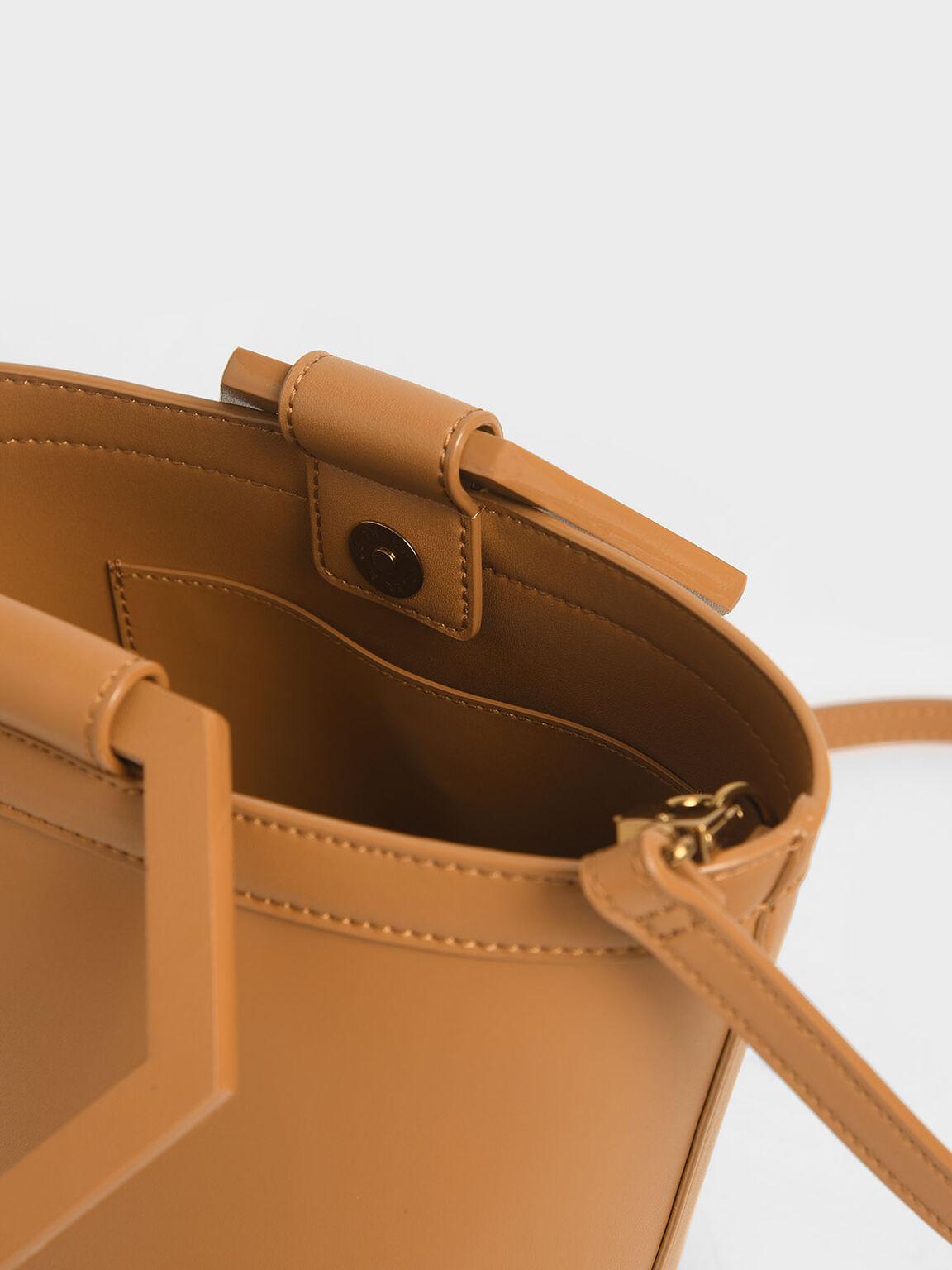 Geometric Handle Bucket Bag, Cognac, hi-res