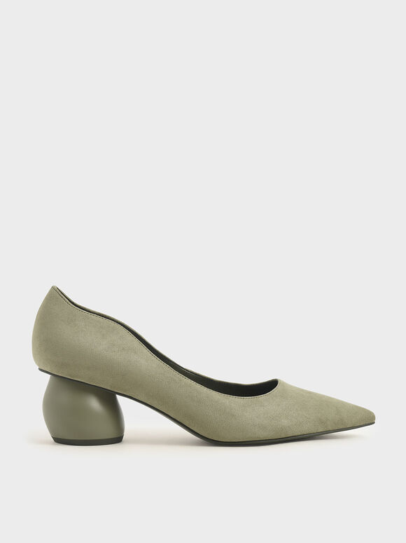 Textured Sculptural Heel Court Shoes, Olive, hi-res
