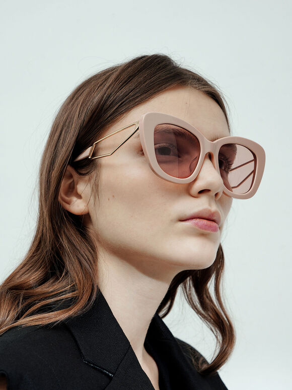 Acetate Butterfly Sunglasses, Pink, hi-res