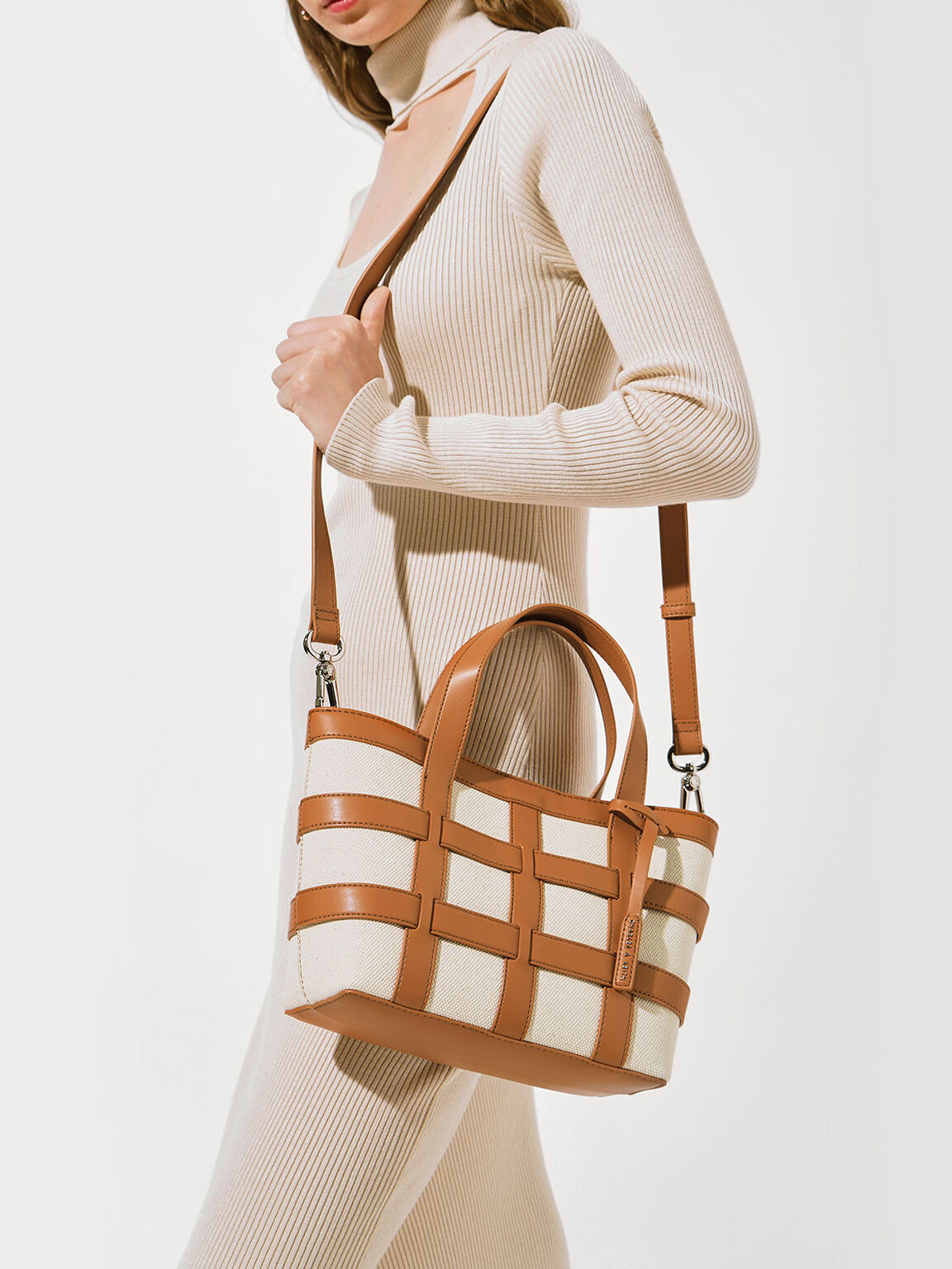 Caged Canvas Tote Bag, Beige, hi-res